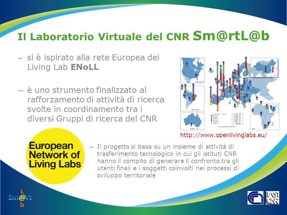Il Laboratorio Virtuale del CNR Sm@rtL@b – si è ispirato alla rete Europea dei Living Lab ENoLL – è uno strumento finalizzato al rafforzamento di atti