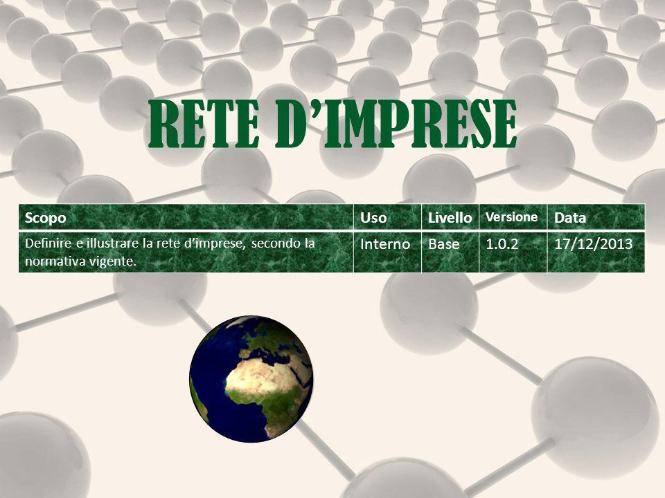 RETE D'IMPRESE ScopoUsoLivello Versione Data Definire e illustrare la rete d'imprese, secondo la normativa vigente.
