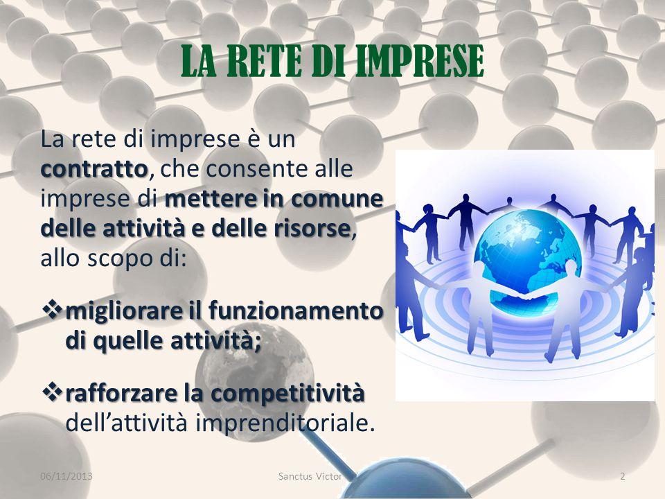GOVERNANCE DELLA RETE 06/11/2013Sanctus Victor CIR&TTO13 All'ampia libertà nell'oggetto del contratto corrisponde una ampia scelta nella forma della governance.