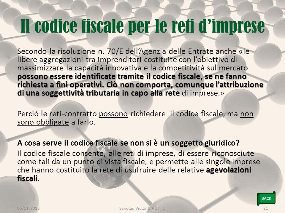 Il codice fiscale per le reti d'imprese possono essere identificate tramite il codice fiscale, se ne fanno richiesta a fini operativi.