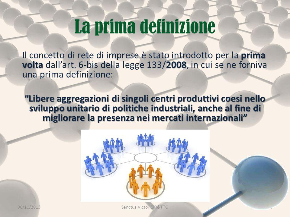 La prima definizione 06/11/2013Sanctus Victor CIR&TTO3 prima volta2008 Il concetto di rete di imprese è stato introdotto per la prima volta dall'art.