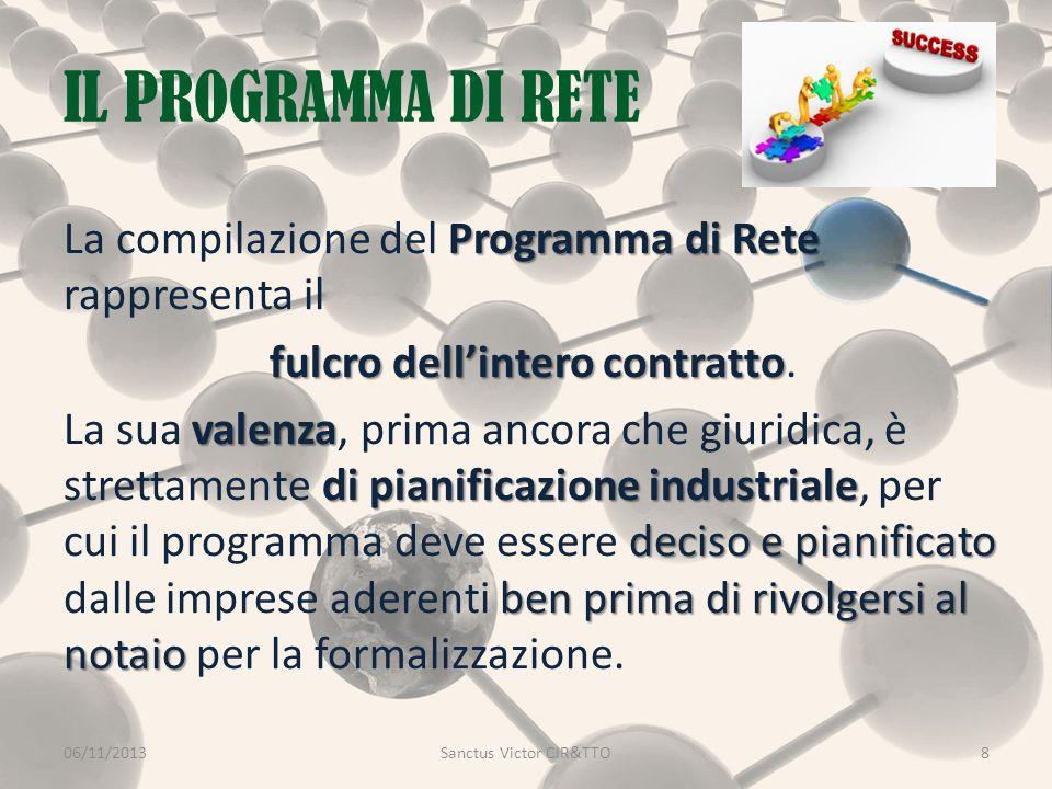 IL PROGRAMMA DI RETE 06/11/2013Sanctus Victor CIR&TTO8 Programma di Rete La compilazione del Programma di Rete rappresenta il fulcro dell'intero contratto fulcro dell'intero contratto.