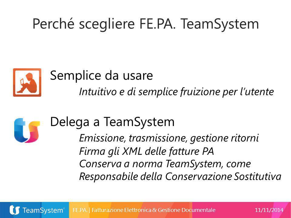 Perché scegliere FE.PA. TeamSystem Semplice da usare Intuitivo e di semplice fruizione per l'utente Delega a TeamSystem Emissione, trasmissione, gesti