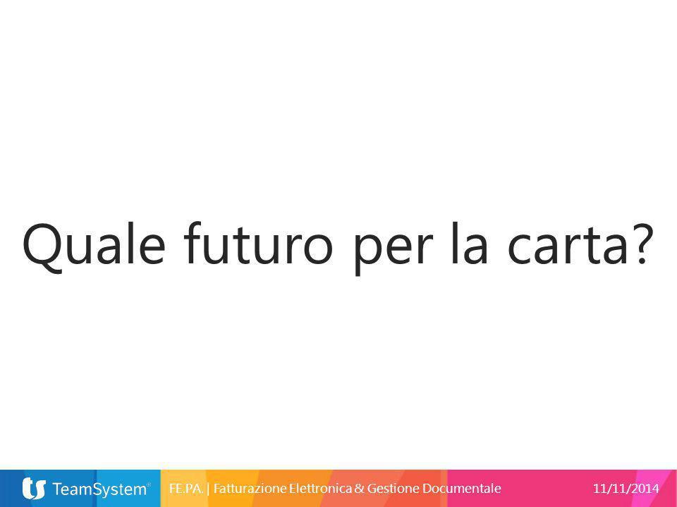 Quale futuro per la carta? FE.PA.   Fatturazione Elettronica & Gestione Documentale11/11/2014