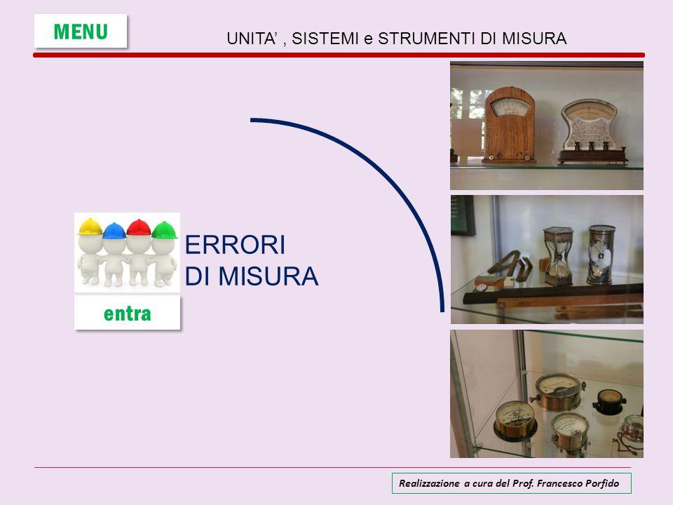 UNITA', SISTEMI e STRUMENTI DI MISURA ERRORI DI MISURA MENU entra Realizzazione a cura del Prof. Francesco Porfido