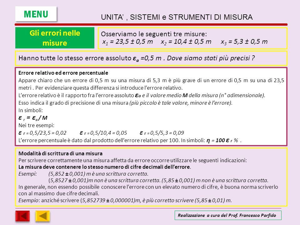 Gli errori nelle misure Osserviamo le seguenti tre misure: x 1 = 23,5 ± 0,5 mx 2 = 10,4 ± 0,5 mx 3 = 5,3 ± 0,5 m Errore relativo ed errore percentuale