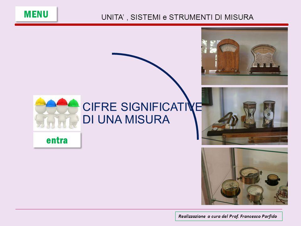 UNITA', SISTEMI e STRUMENTI DI MISURA CIFRE SIGNIFICATIVE DI UNA MISURA MENU entra Realizzazione a cura del Prof. Francesco Porfido
