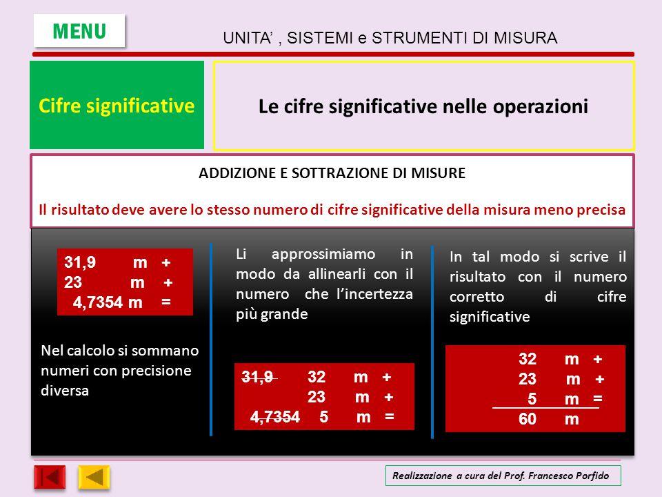 Cifre significative Le cifre significative nelle operazioni ADDIZIONE E SOTTRAZIONE DI MISURE Il risultato deve avere lo stesso numero di cifre signif