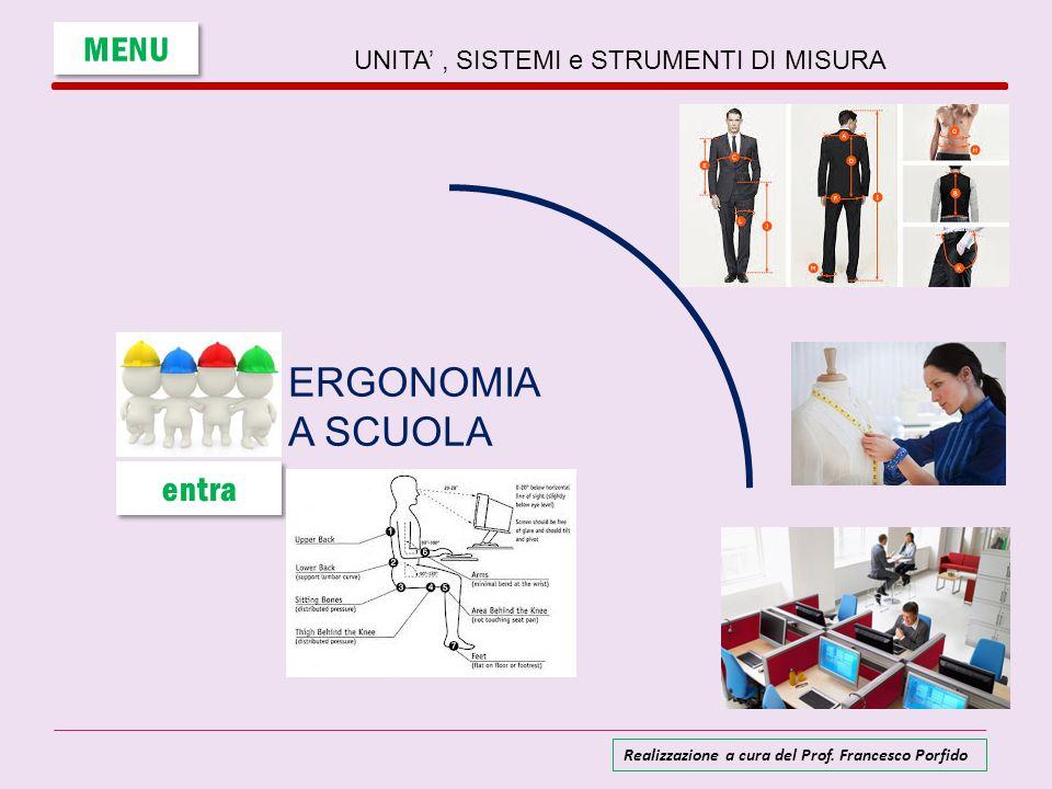 UNITA', SISTEMI e STRUMENTI DI MISURA ERGONOMIA A SCUOLA MENU entra Realizzazione a cura del Prof. Francesco Porfido