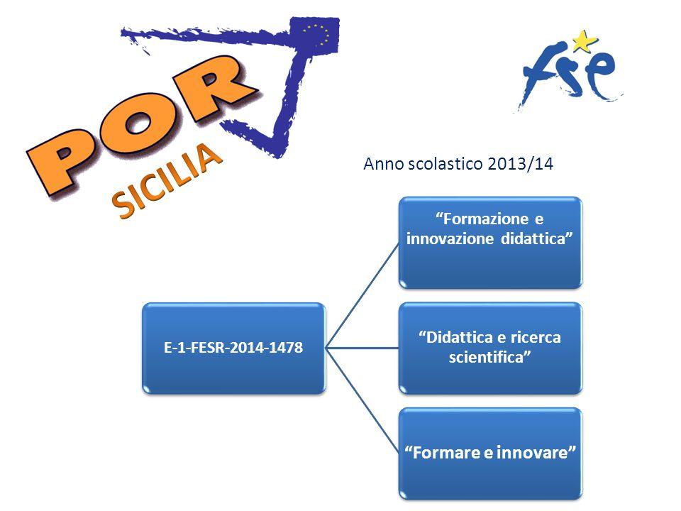 Anno scolastico 2013/14 E-1-FESR-2014-1478 Formazione e innovazione didattica Didattica e ricerca scientifica Formare e innovare