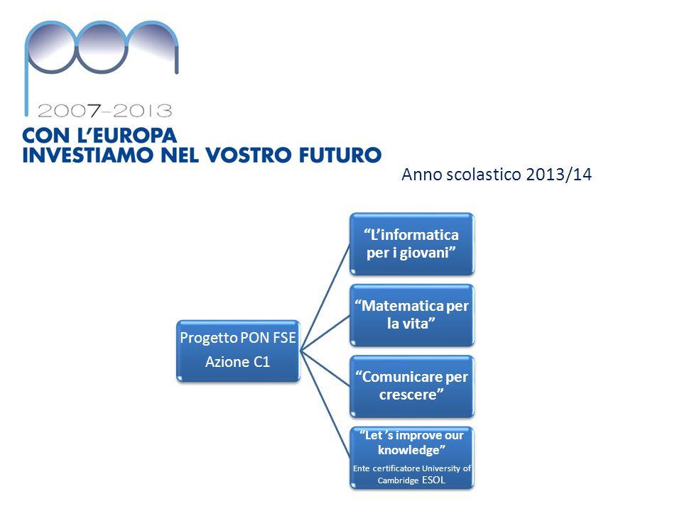 Anno scolastico 2013/14 Progetto PON FSE Azione C2 S.O.S.