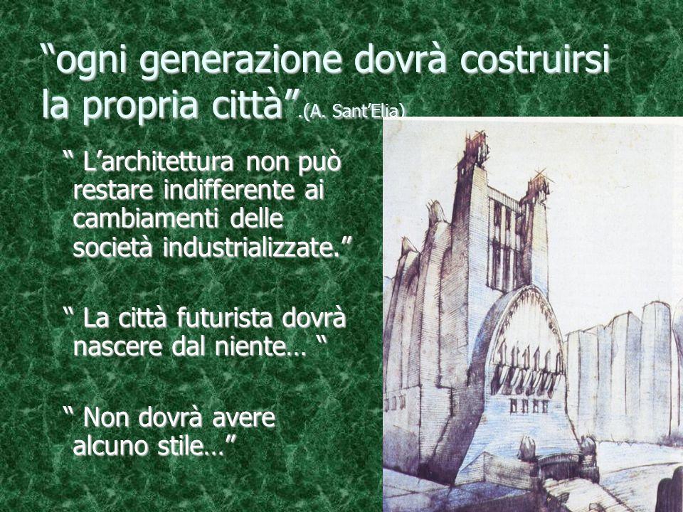 """""""ogni generazione dovrà costruirsi la propria città"""".(A. Sant'Elia) """" L'architettura non può restare indifferente ai cambiamenti delle società indust"""