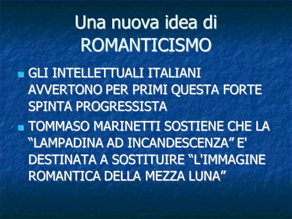 Una nuova idea di ROMANTICISMO GLI INTELLETTUALI ITALIANI AVVERTONO PER PRIMI QUESTA FORTE SPINTA PROGRESSISTA GLI INTELLETTUALI ITALIANI AVVERTONO PER PRIMI QUESTA FORTE SPINTA PROGRESSISTA TOMMASO MARINETTI SOSTIENE CHE LA LAMPADINA AD INCANDESCENZA E DESTINATA A SOSTITUIRE L IMMAGINE ROMANTICA DELLA MEZZA LUNA TOMMASO MARINETTI SOSTIENE CHE LA LAMPADINA AD INCANDESCENZA E DESTINATA A SOSTITUIRE L IMMAGINE ROMANTICA DELLA MEZZA LUNA