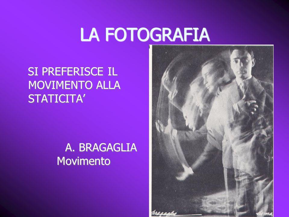 LA FOTOGRAFIA SI PREFERISCE IL MOVIMENTO ALLA STATICITA' SI PREFERISCE IL MOVIMENTO ALLA STATICITA' A. BRAGAGLIA Movimento A. BRAGAGLIA Movimento