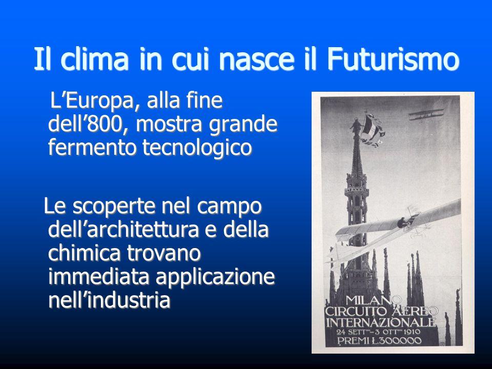 Il clima in cui nasce il Futurismo L'Europa, alla fine dell'800, mostra grande fermento tecnologico L'Europa, alla fine dell'800, mostra grande fermen