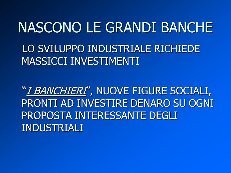 """NASCONO LE GRANDI BANCHE LO SVILUPPO INDUSTRIALE RICHIEDE MASSICCI INVESTIMENTI LO SVILUPPO INDUSTRIALE RICHIEDE MASSICCI INVESTIMENTI """"I BANCHIERI"""","""