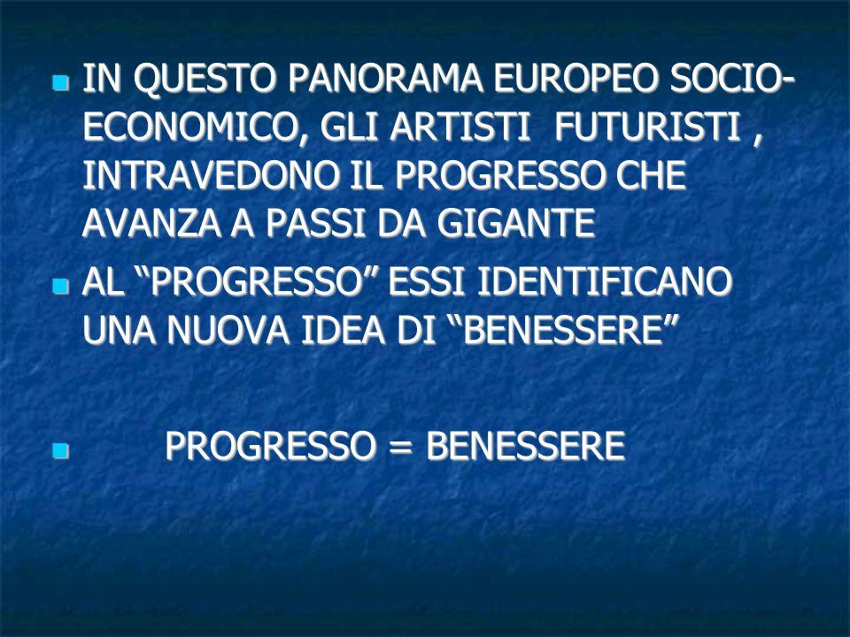 IN QUESTO PANORAMA EUROPEO SOCIO- ECONOMICO, GLI ARTISTI FUTURISTI, INTRAVEDONO IL PROGRESSO CHE AVANZA A PASSI DA GIGANTE IN QUESTO PANORAMA EUROPEO SOCIO- ECONOMICO, GLI ARTISTI FUTURISTI, INTRAVEDONO IL PROGRESSO CHE AVANZA A PASSI DA GIGANTE AL PROGRESSO ESSI IDENTIFICANO UNA NUOVA IDEA DI BENESSERE AL PROGRESSO ESSI IDENTIFICANO UNA NUOVA IDEA DI BENESSERE PROGRESSO = BENESSERE PROGRESSO = BENESSERE