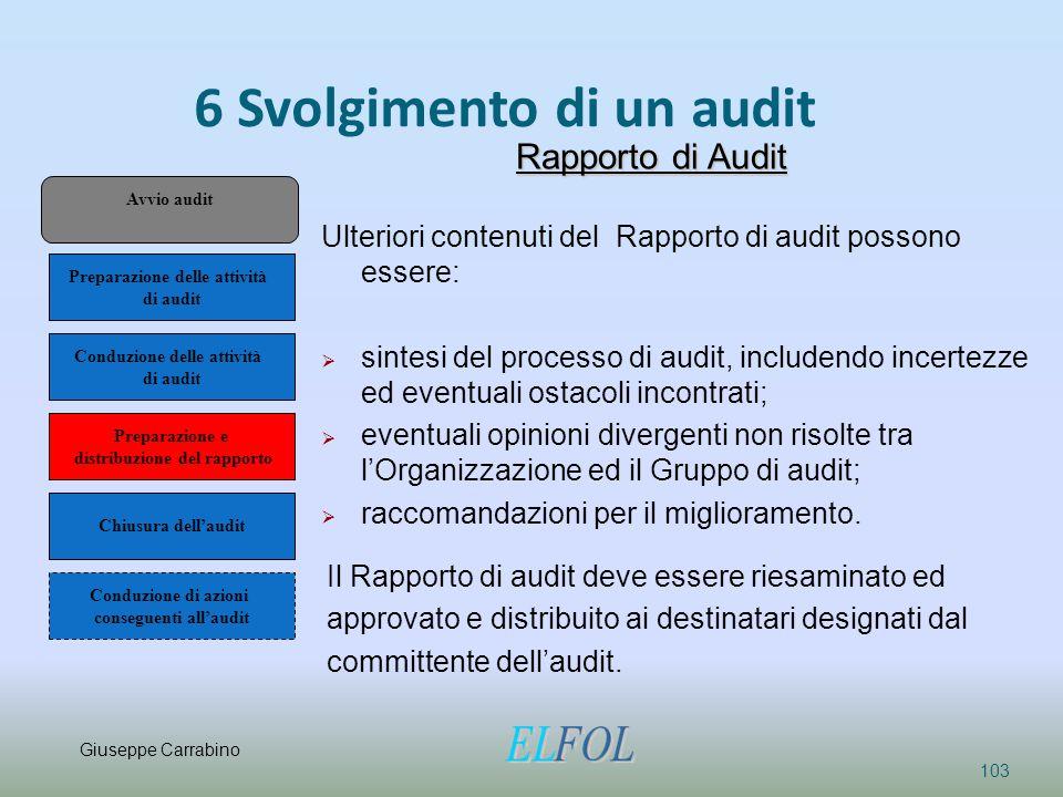 6 Svolgimento di un audit 103 Rapporto di Audit Ulteriori contenuti del Rapporto di audit possono essere:  sintesi del processo di audit, includendo