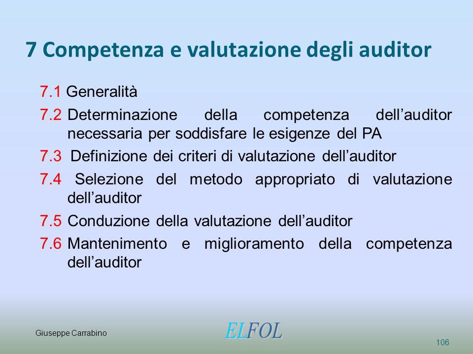 7 Competenza e valutazione degli auditor 106 7.1 Generalità 7.2 Determinazione della competenza dell'auditor necessaria per soddisfare le esigenze del