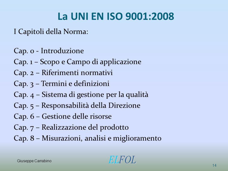 La UNI EN ISO 9001:2008 I Capitoli della Norma: Cap. 0 - Introduzione Cap. 1 – Scopo e Campo di applicazione Cap. 2 – Riferimenti normativi Cap. 3 – T