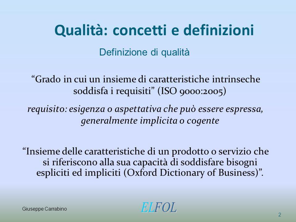 """Qualità: concetti e definizioni """"Grado in cui un insieme di caratteristiche intrinseche soddisfa i requisiti"""" (ISO 9000:2005) requisito: esigenza o as"""
