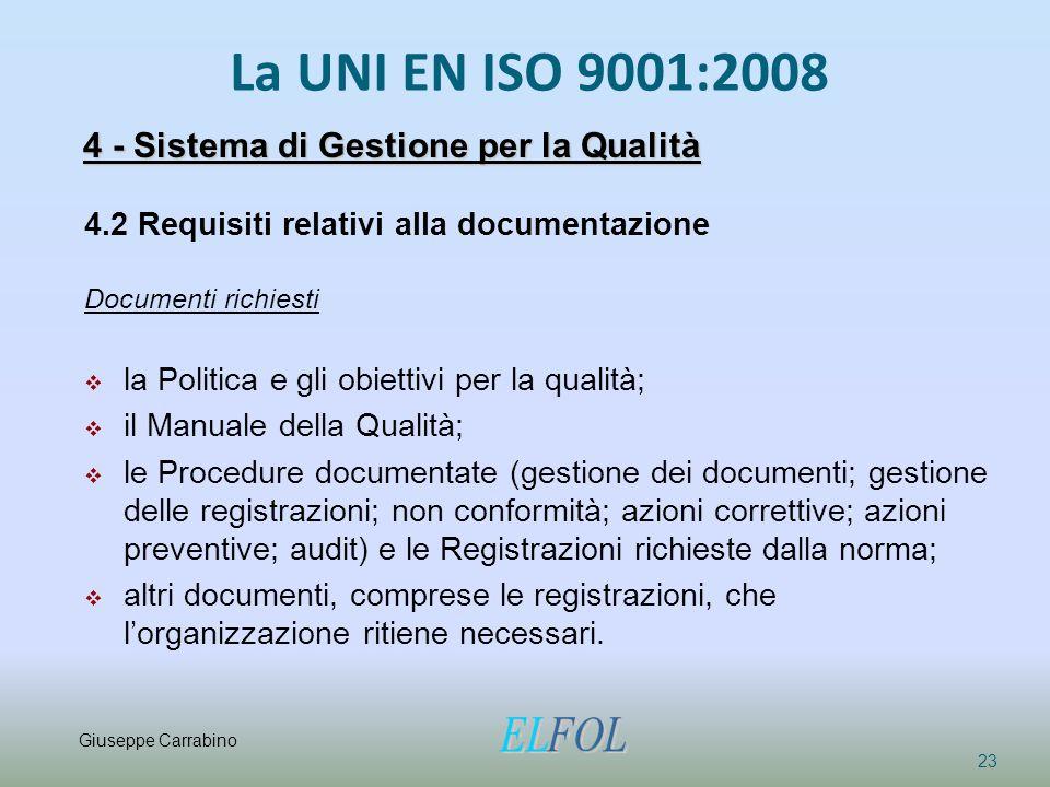 La UNI EN ISO 9001:2008 23 4.2 Requisiti relativi alla documentazione Documenti richiesti  la Politica e gli obiettivi per la qualità;  il Manuale d