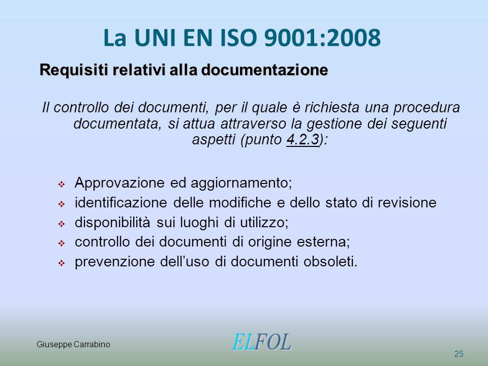 La UNI EN ISO 9001:2008 25 Requisiti relativi alla documentazione Il controllo dei documenti, per il quale è richiesta una procedura documentata, si a