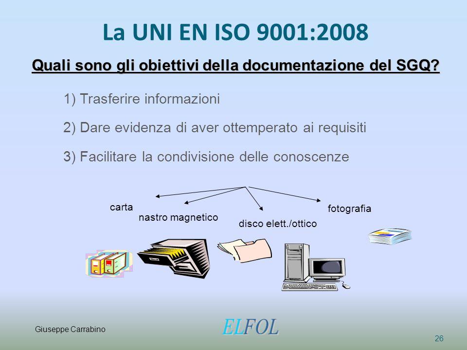 La UNI EN ISO 9001:2008 26 Quali sono gli obiettivi della documentazione del SGQ? 1) Trasferire informazioni 2) Dare evidenza di aver ottemperato ai r
