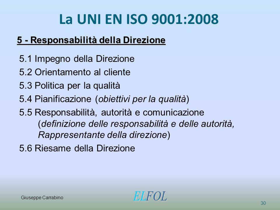 La UNI EN ISO 9001:2008 30 5 - Responsabilità della Direzione 5.1 Impegno della Direzione 5.2 Orientamento al cliente 5.3 Politica per la qualità 5.4