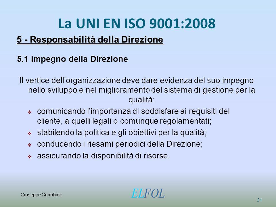 La UNI EN ISO 9001:2008 31 5 - Responsabilità della Direzione 5.1 Impegno della Direzione Il vertice dell'organizzazione deve dare evidenza del suo im