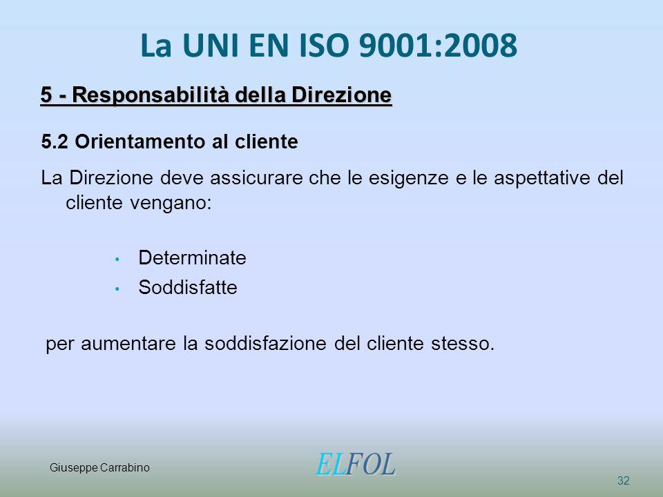 La UNI EN ISO 9001:2008 32 5 - Responsabilità della Direzione 5.2 Orientamento al cliente La Direzione deve assicurare che le esigenze e le aspettativ