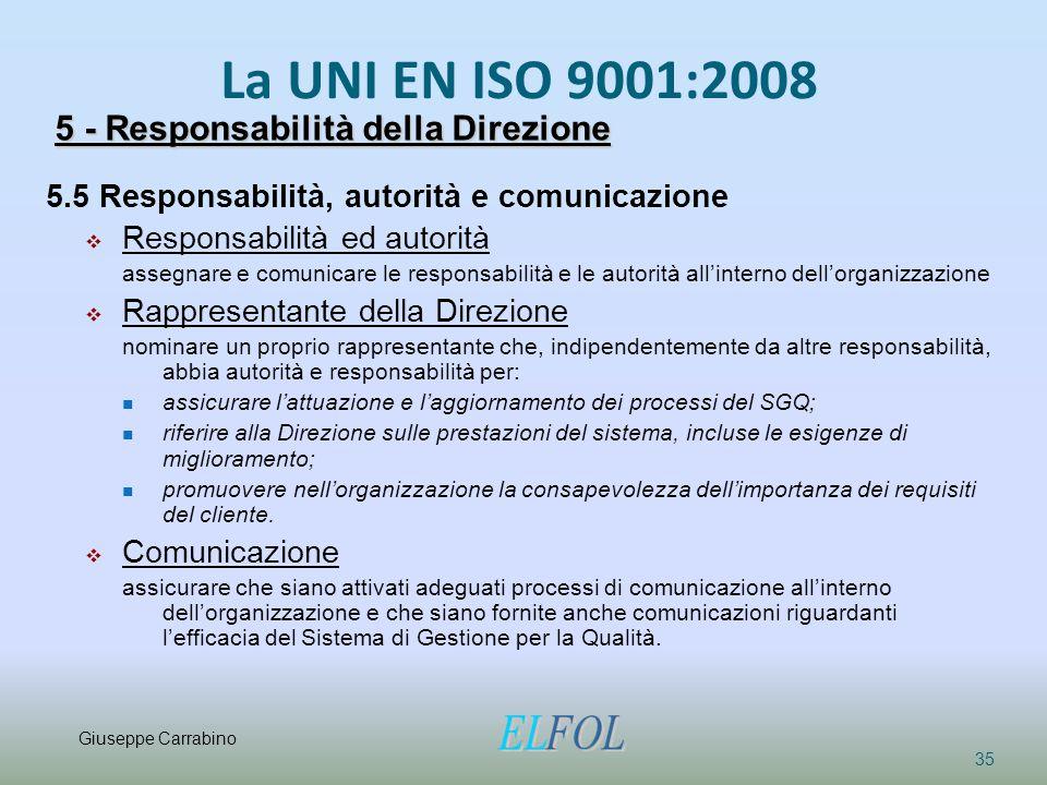 La UNI EN ISO 9001:2008 35 5 - Responsabilità della Direzione 5.5 Responsabilità, autorità e comunicazione  Responsabilità ed autorità assegnare e co