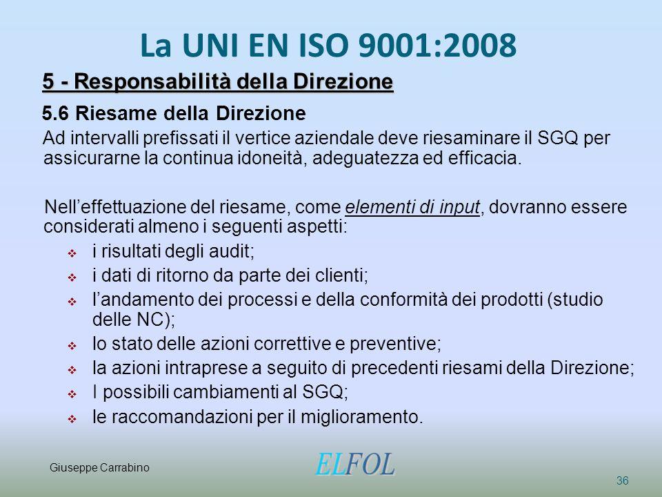La UNI EN ISO 9001:2008 36 5 - Responsabilità della Direzione 5.6 Riesame della Direzione Ad intervalli prefissati il vertice aziendale deve riesamina