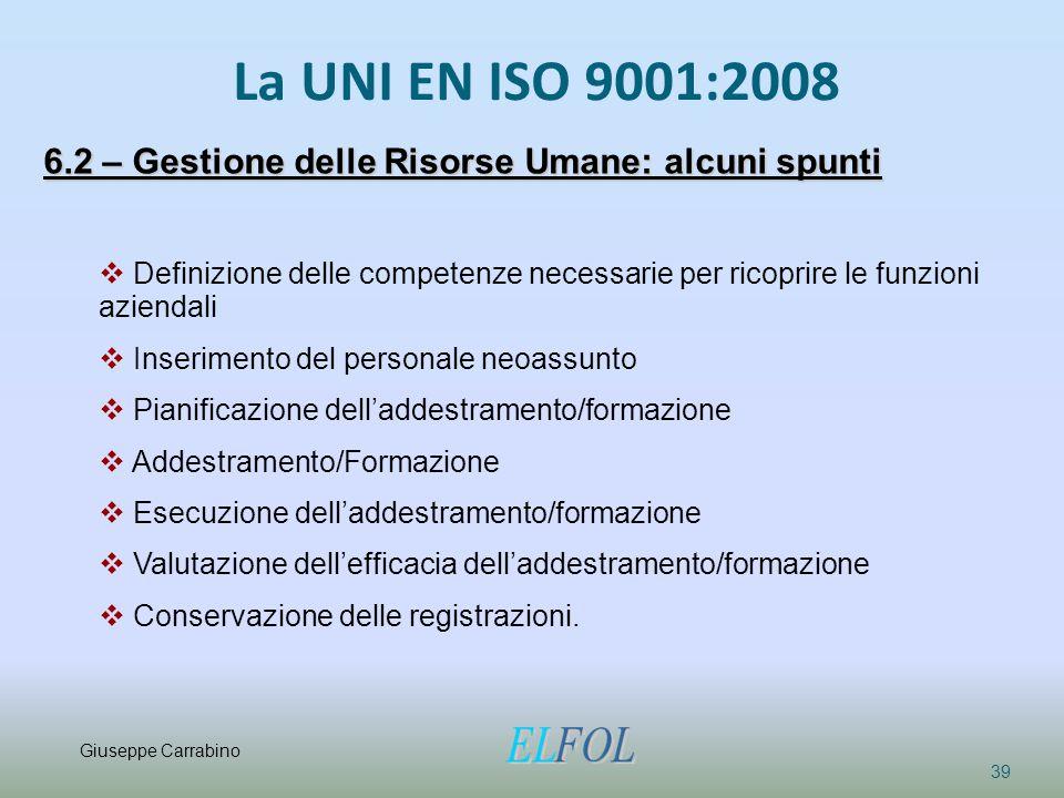 La UNI EN ISO 9001:2008 39 6.2 – Gestione delle Risorse Umane: alcuni spunti  Definizione delle competenze necessarie per ricoprire le funzioni azien