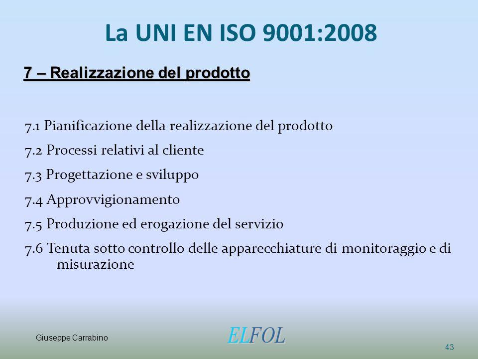 La UNI EN ISO 9001:2008 7.1 Pianificazione della realizzazione del prodotto 7.2 Processi relativi al cliente 7.3 Progettazione e sviluppo 7.4 Approvvi