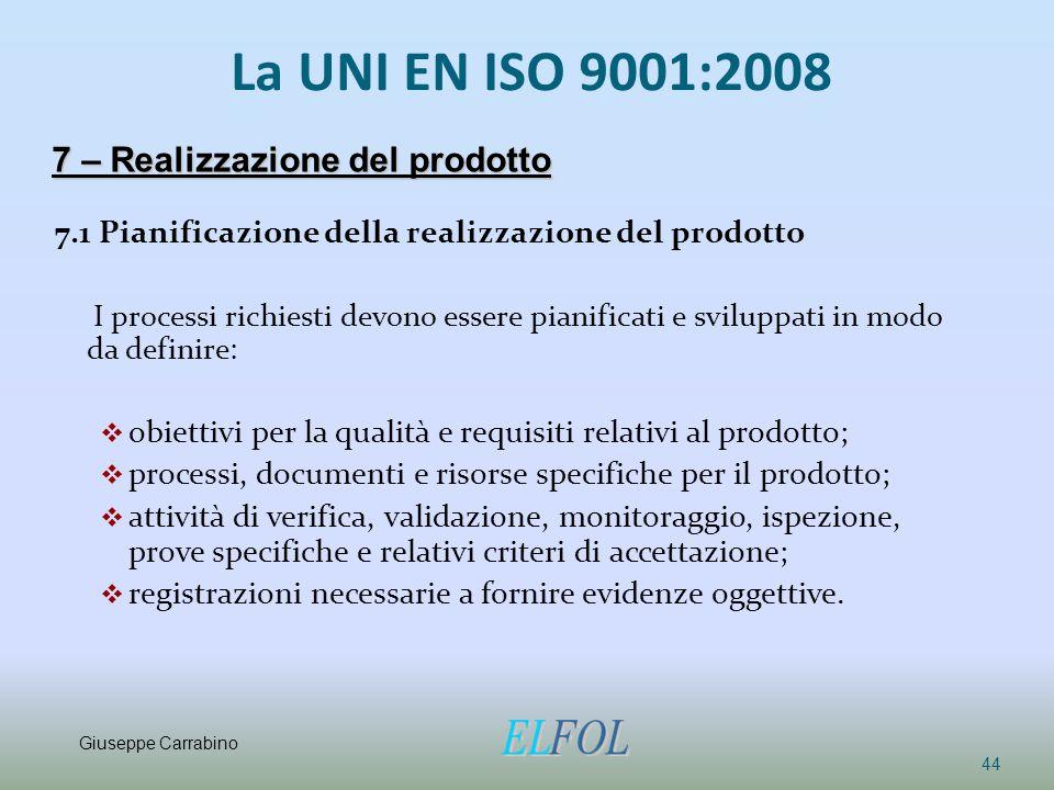 La UNI EN ISO 9001:2008 7.1 Pianificazione della realizzazione del prodotto I processi richiesti devono essere pianificati e sviluppati in modo da def