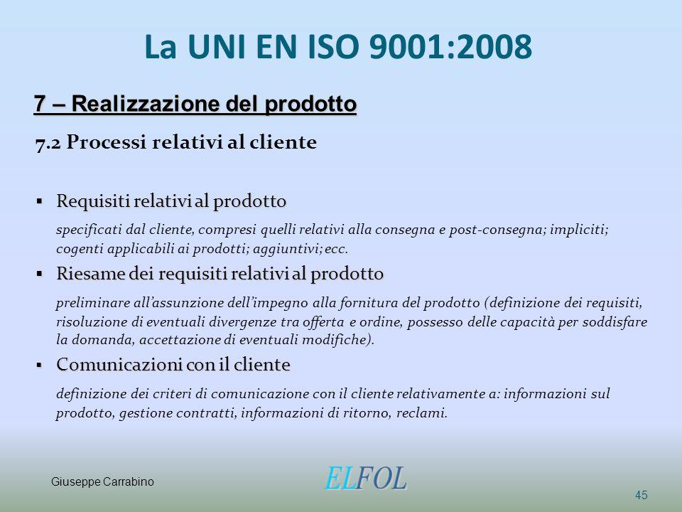 La UNI EN ISO 9001:2008 7.2 Processi relativi al cliente  Requisiti relativi al prodotto specificati dal cliente, compresi quelli relativi alla conse