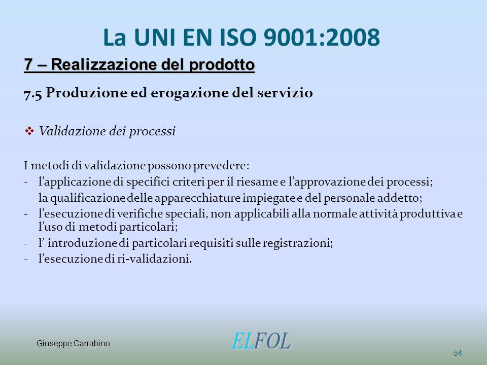 La UNI EN ISO 9001:2008 7.5 Produzione ed erogazione del servizio  Validazione dei processi I metodi di validazione possono prevedere: - l'applicazio