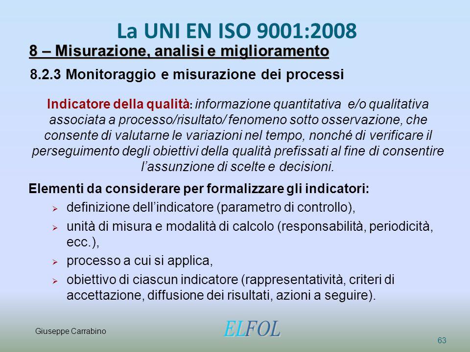 La UNI EN ISO 9001:2008 63 8 – Misurazione, analisi e miglioramento 8.2.3 Monitoraggio e misurazione dei processi Indicatore della qualità : informazi
