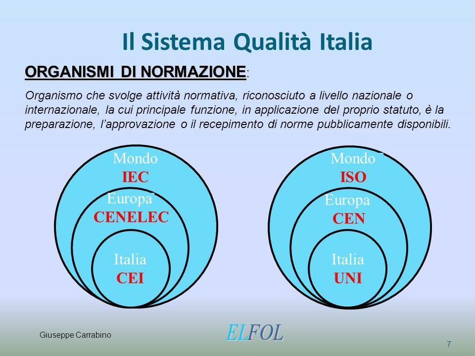 Il Sistema Qualità Italia 7 ORGANISMI DI NORMAZIONE : Organismo che svolge attività normativa, riconosciuto a livello nazionale o internazionale, la c