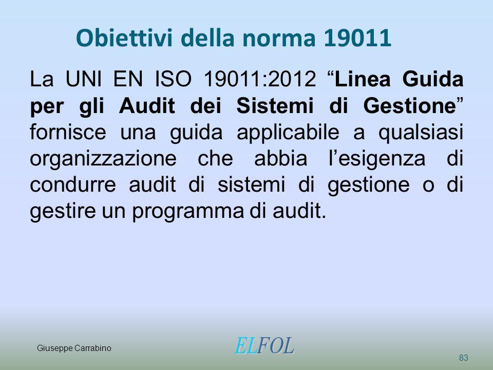 """Obiettivi della norma 19011 83 La UNI EN ISO 19011:2012 """"Linea Guida per gli Audit dei Sistemi di Gestione"""" fornisce una guida applicabile a qualsiasi"""