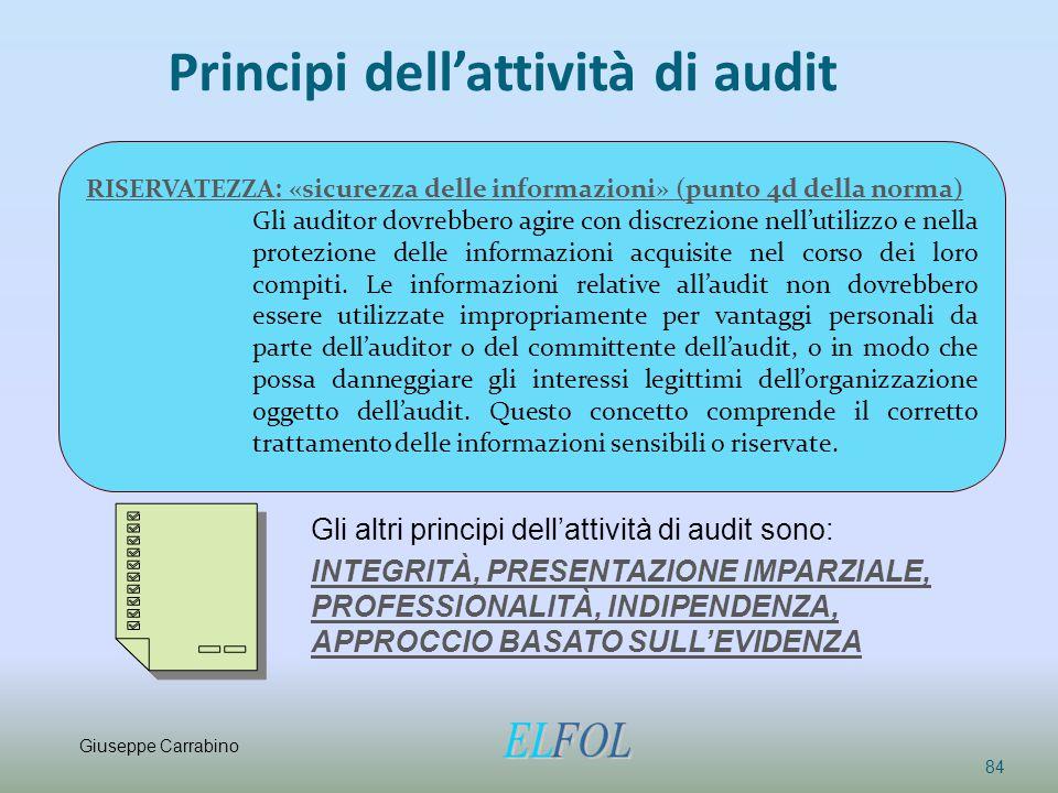 Principi dell'attività di audit 84 RISERVATEZZA: «sicurezza delle informazioni» (punto 4d della norma) Gli auditor dovrebbero agire con discrezione ne