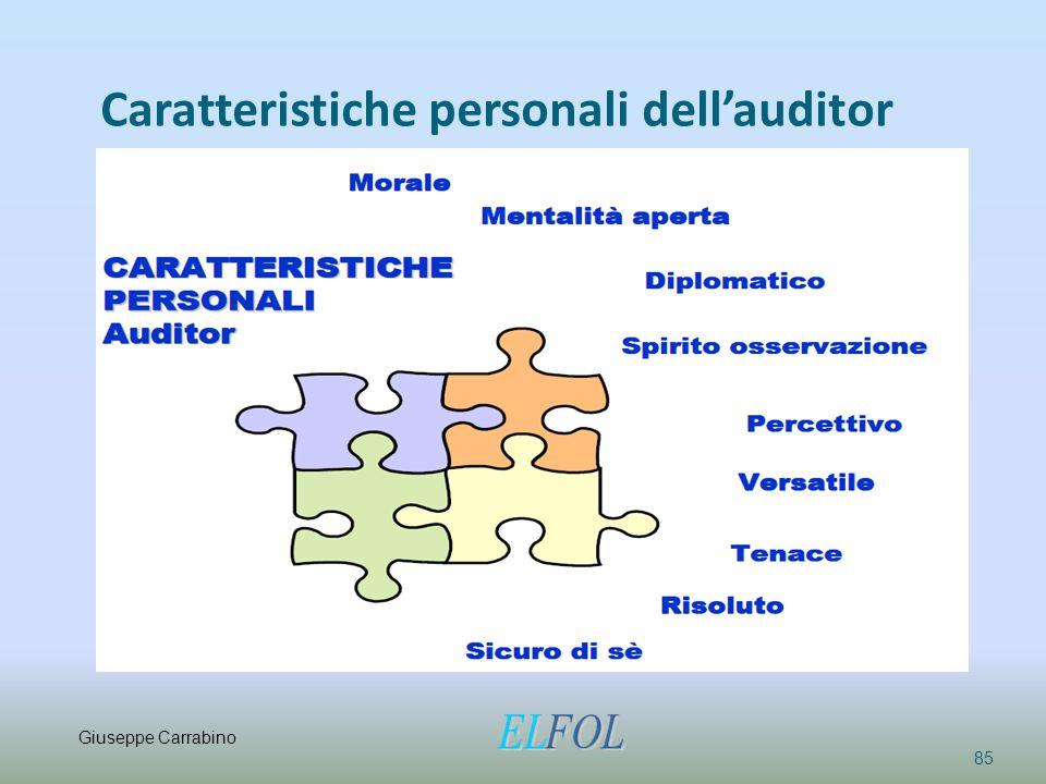 Caratteristiche personali dell'auditor 85 Giuseppe Carrabino