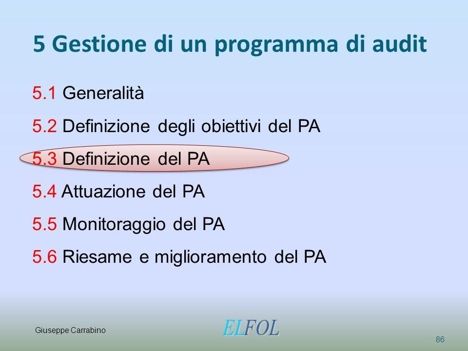 5 Gestione di un programma di audit 86 5.1 Generalità 5.2 Definizione degli obiettivi del PA 5.3 Definizione del PA 5.4 Attuazione del PA 5.5 Monitora