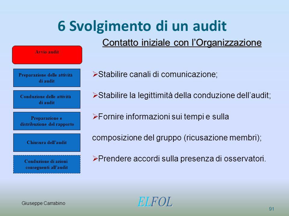 6 Svolgimento di un audit 91 Contatto iniziale con l'Organizzazione  Stabilire canali di comunicazione;  Stabilire la legittimità della conduzione d
