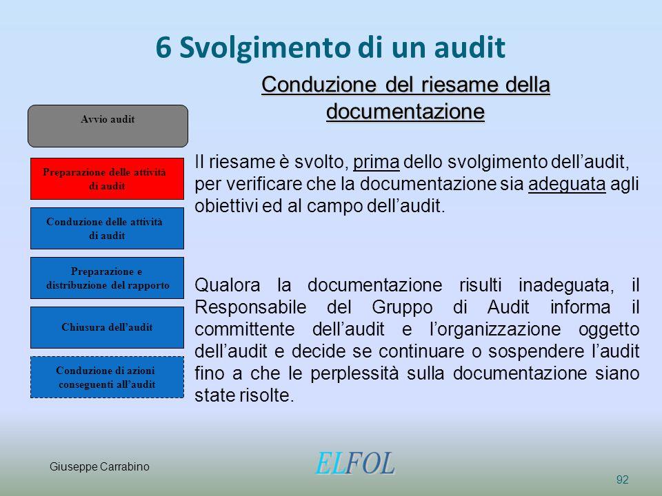 6 Svolgimento di un audit 92 Conduzione del riesame della documentazione Il riesame è svolto, prima dello svolgimento dell'audit, per verificare che l