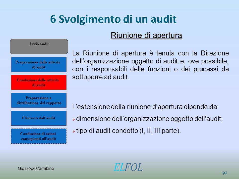 6 Svolgimento di un audit 96 Riunione di apertura La Riunione di apertura è tenuta con la Direzione dell'organizzazione oggetto di audit e, ove possib