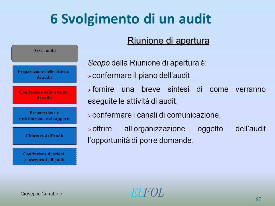 6 Svolgimento di un audit 97 Riunione di apertura Scopo Scopo della Riunione di apertura è:  confermare il piano dell'audit,  fornire una breve sint