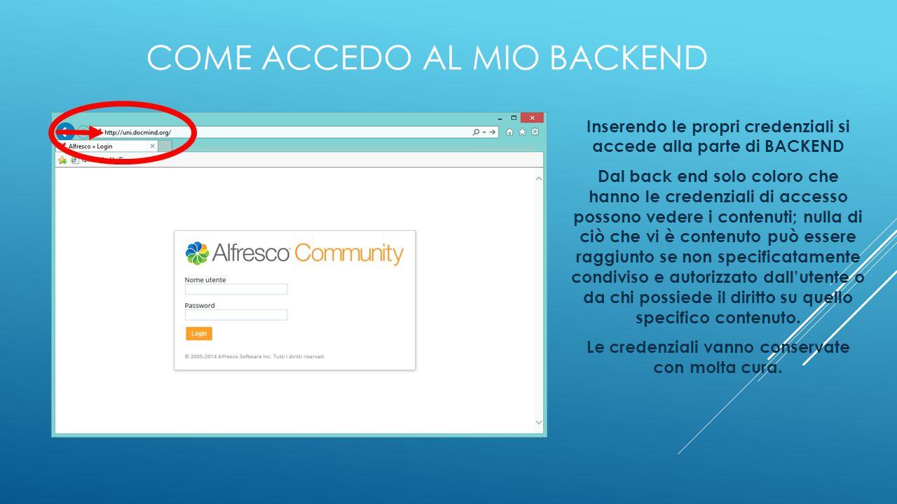 COME ACCEDO AL MIO BACKEND Inserendo le propri credenziali si accede alla parte di BACKEND Dal back end solo coloro che hanno le credenziali di access
