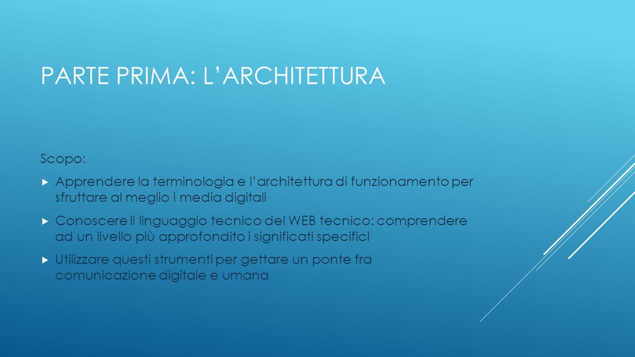 PARTE PRIMA: L'ARCHITETTURA Scopo:  Apprendere la terminologia e l'architettura di funzionamento per sfruttare al meglio i media digitali  Conoscere